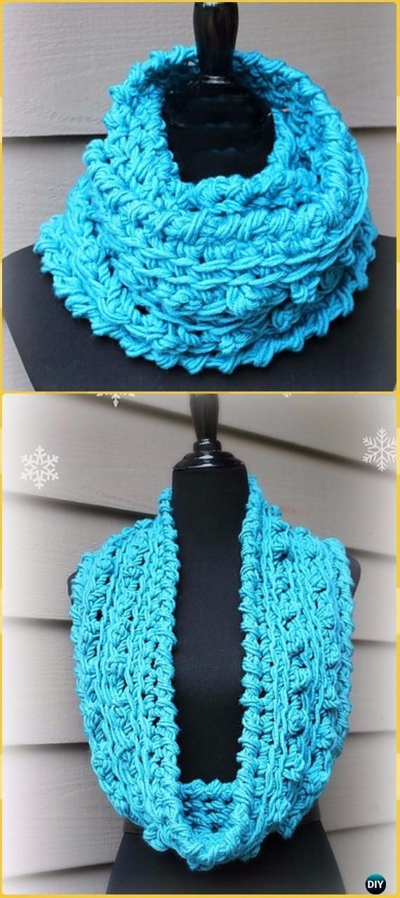 Crochet Infinity Scarf Cowl Neck Warmer Free Patterns ...
