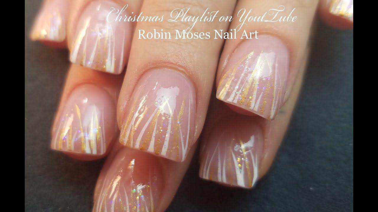 Soft Winter White Stripe Nails Easy Elegant Nail Art Design To