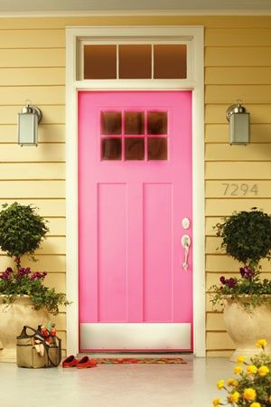 Spring Summer Cottage Pink Yellow Front Of House Pink