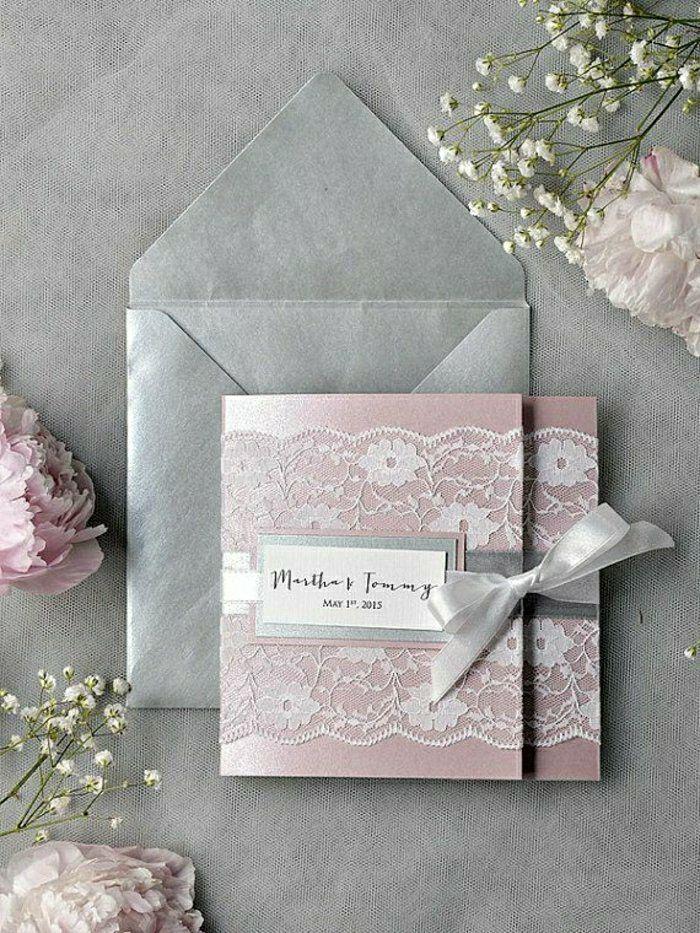 Super Romantisches Modell Einladung Hochzeit Rosa Grau Glanzpapier