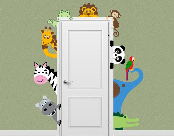 Jungle Safari Animal Decal Peeking Door by onehipstickerchic