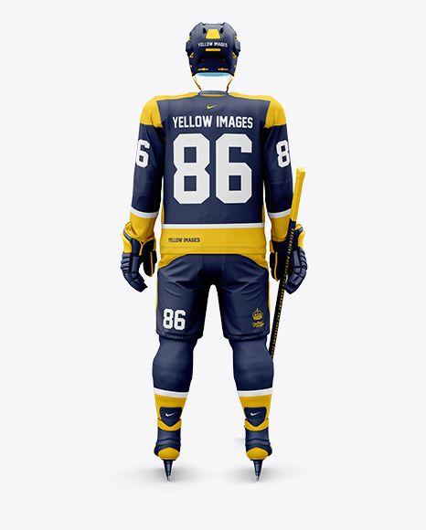 Men S Full Ice Hockey Kit With Visor Mockup Back View In Apparel Mockups On Yellow Images Object Mockups Clothing Mockup Design Mockup Free Shirt Mockup