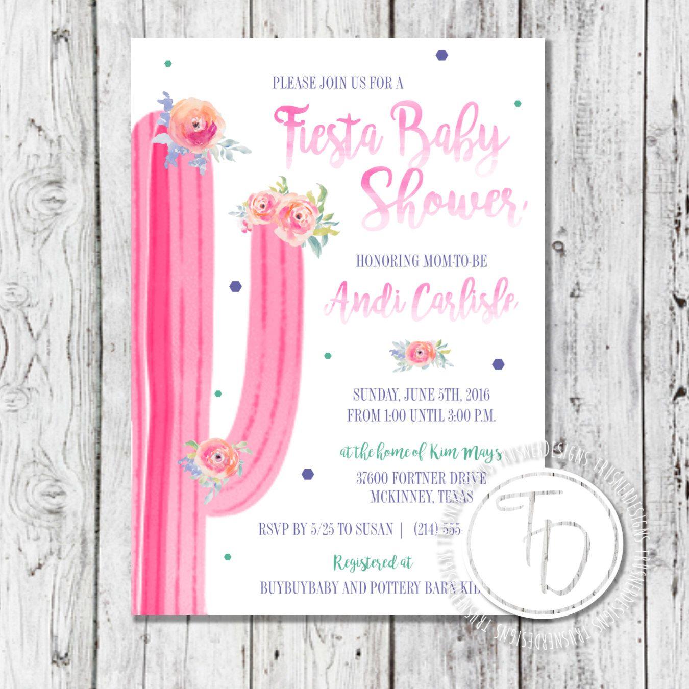 Bohemian Baby Shower Invite Cactus Baby Shower Invite Fiesta