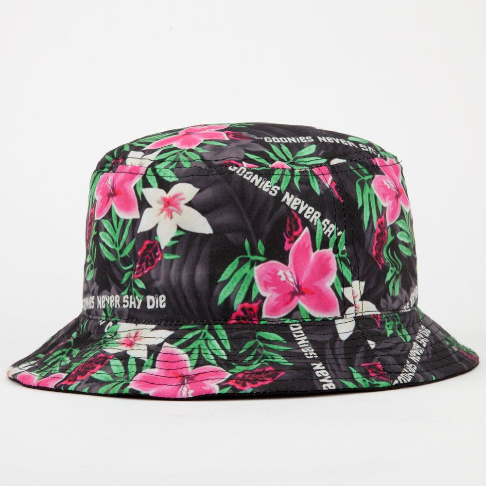 a7b04384 Rook x The Goonies Never Say Die bucket hat. Allover tropical print with  Goonies Never Say Die text.