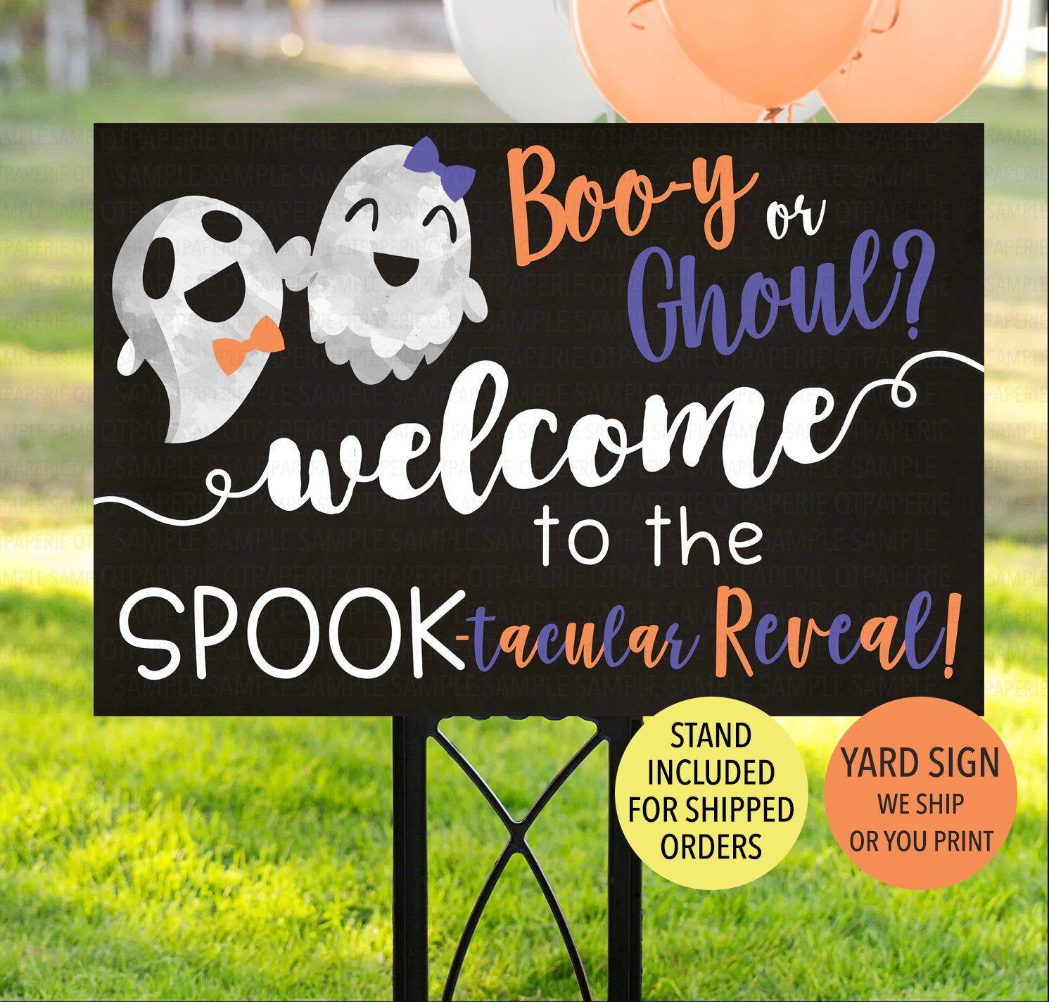 halloween gender reveal gender reveal banner baby shower banner fall gender reveal banner boo or ghoul Halloween banner boo or ghoul