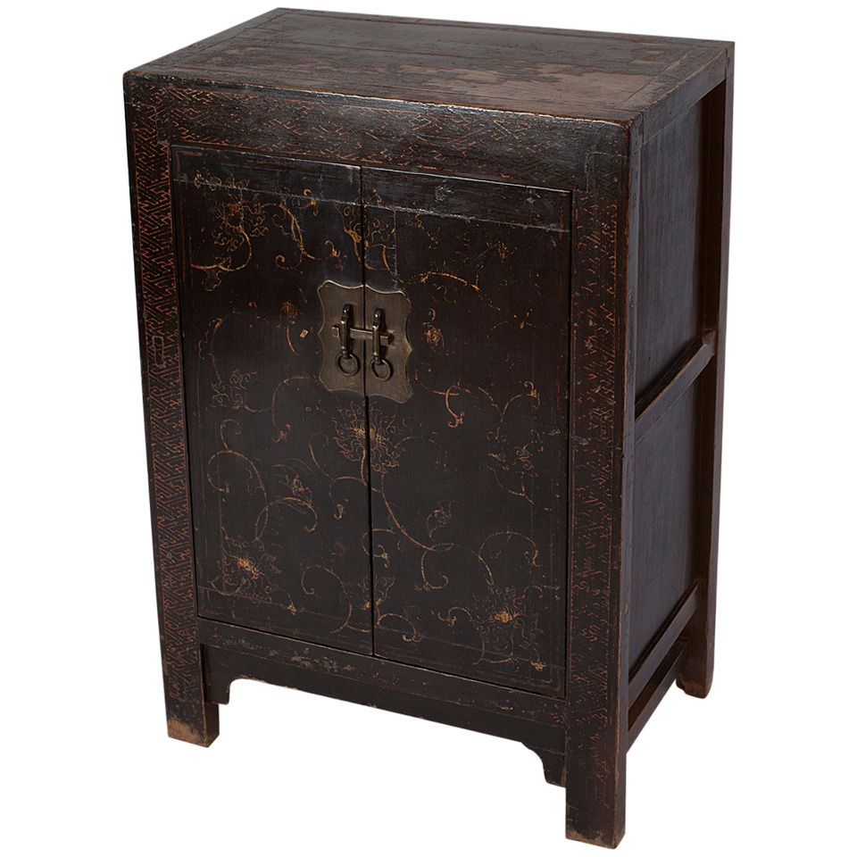 Rare Small Qianlong Chinese Black Lacquer Cabinet With Gilt Paint 18th  Century