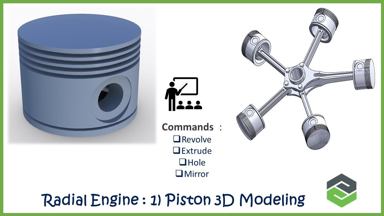 Creo Parametric Radial Engine Assembly 3d Modeling A Piston 1 In 2020 Radial Engine Engineering 3d Model