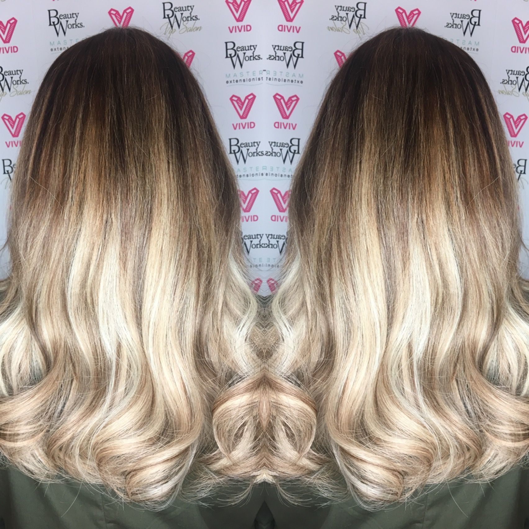 Stunning Soft Golden Blonde Balayage Using Hair Extensions To
