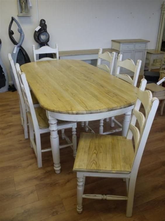 Stunning Shabby Chic Rustic Wooden Farm House Style Dining Table Mesmerizing Dining Room Table And Chairs Ebay Review