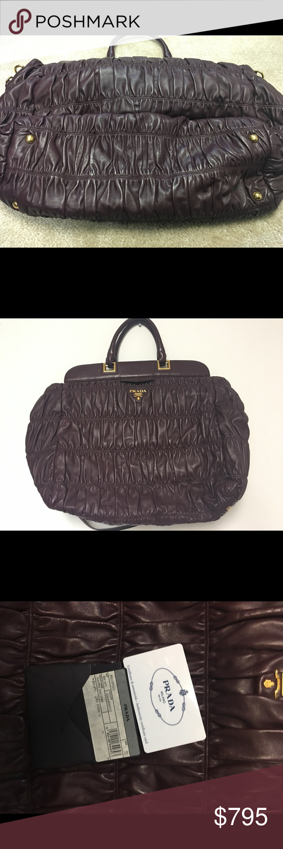 81a965d7577a Authentic Prada Nappa Gaufre Leather Satchel Like New Condition - worn 2x.  Clean interior! Spacious bag can be worn cross body.