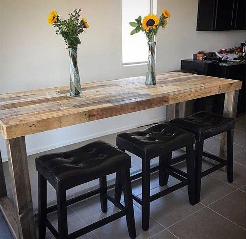 Reclaimed Wood Bar Table Restaurant Counter Community ...