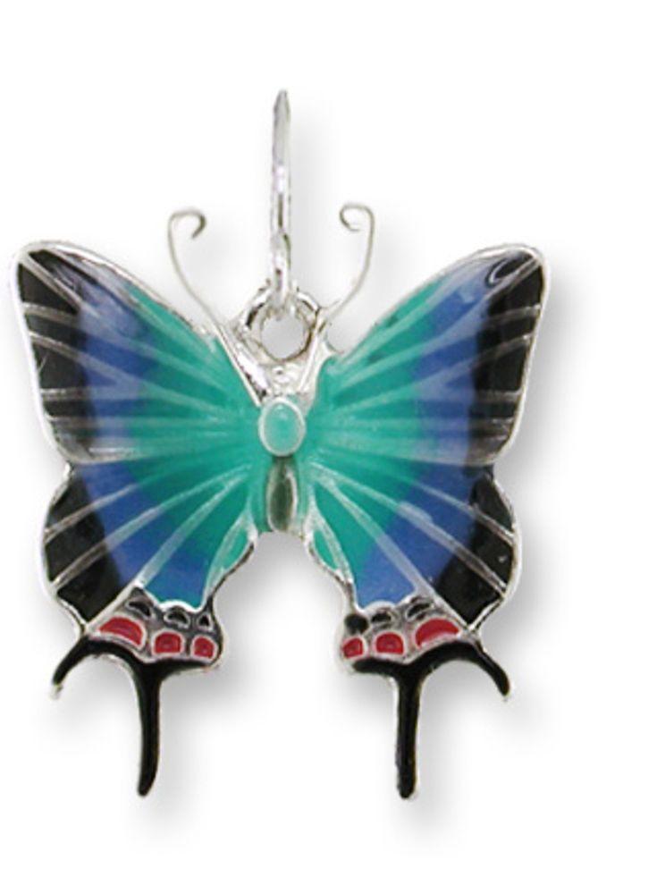 Zarah Zarlite Bluebird and Dogwood Pierced Earrings Enamel Sterling Silver Plate