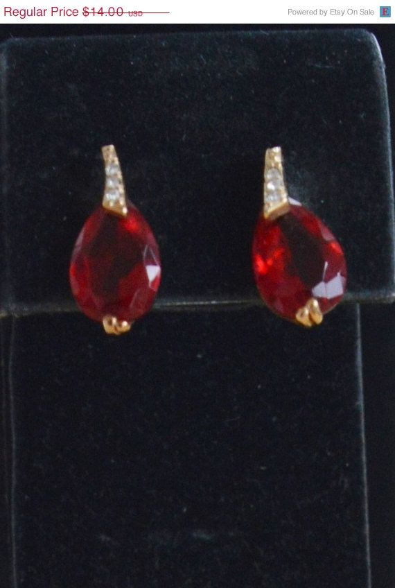 On Sale Pretty Vintage Simulated Ruby, CZ Pear Shaped Pierced Earrings, Listing #121 on Etsy, $11.20