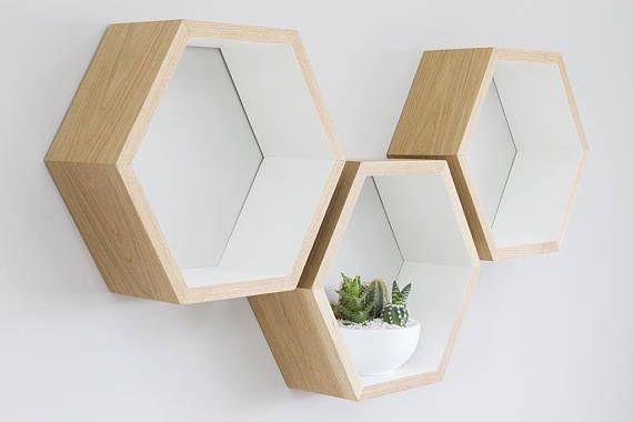 Hand Painted White Oak Hexagon Shelves Oiled Oak Honeycomb