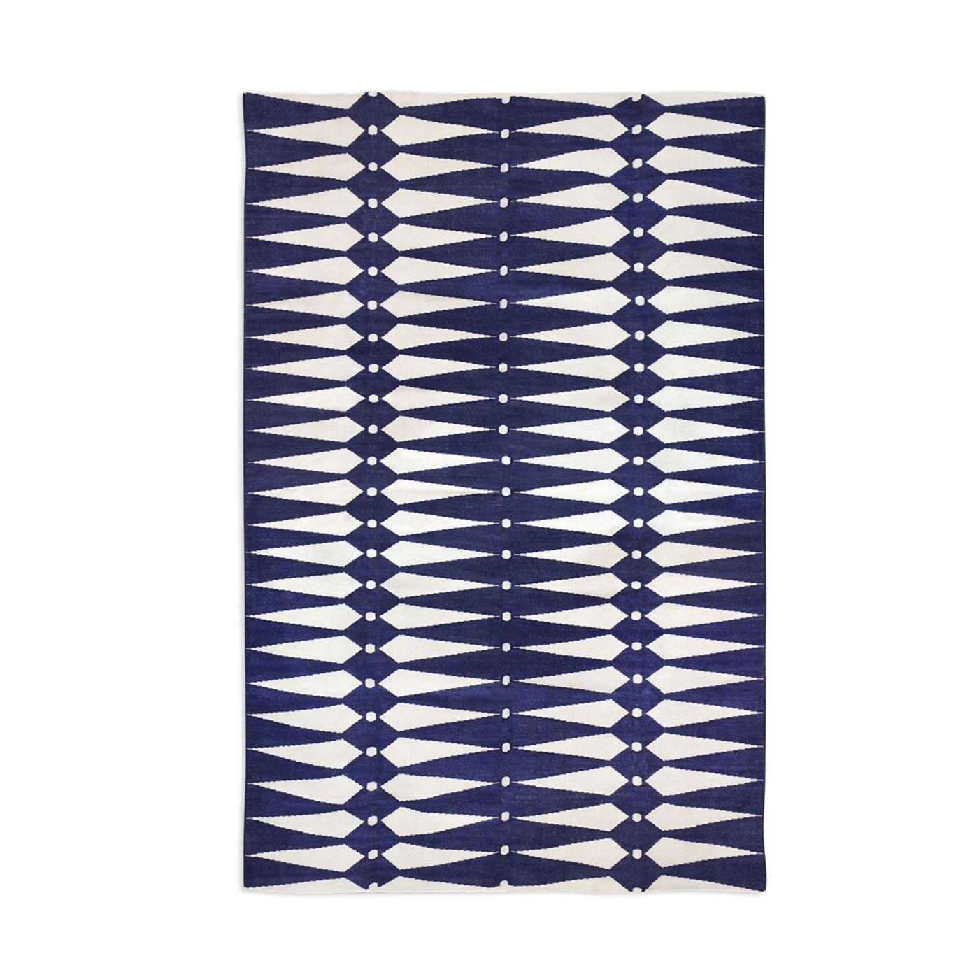 Navy And Natural Dorothy Kilim Flat Weave Rug