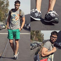 ea5ab81dab3b5 Reinaldo Irizarry - Life Clothing Co. Shirt, Lacoste Short, New Balance  Sneakers, Herschel Supply Co. Backpack, Tom Ford Glasses - GREEN STILL  MEANS GO