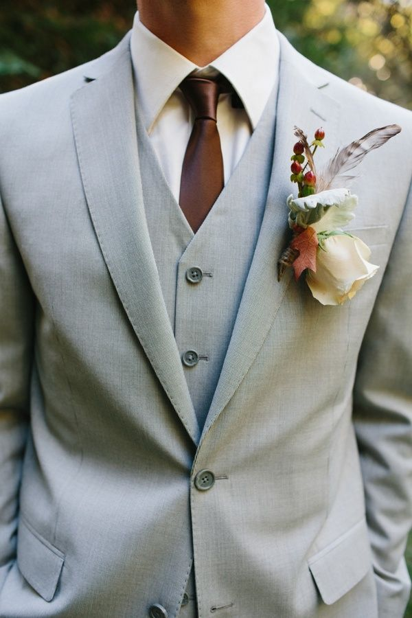 fall boutonniere with feathers // photo by Marianne Wilson | Groom ...