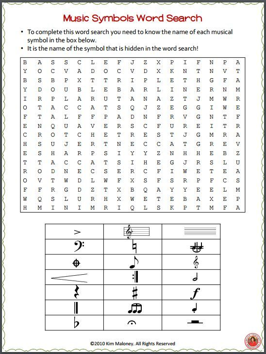 Music Word Search: Music Theory Game - Music Symbols Word ...