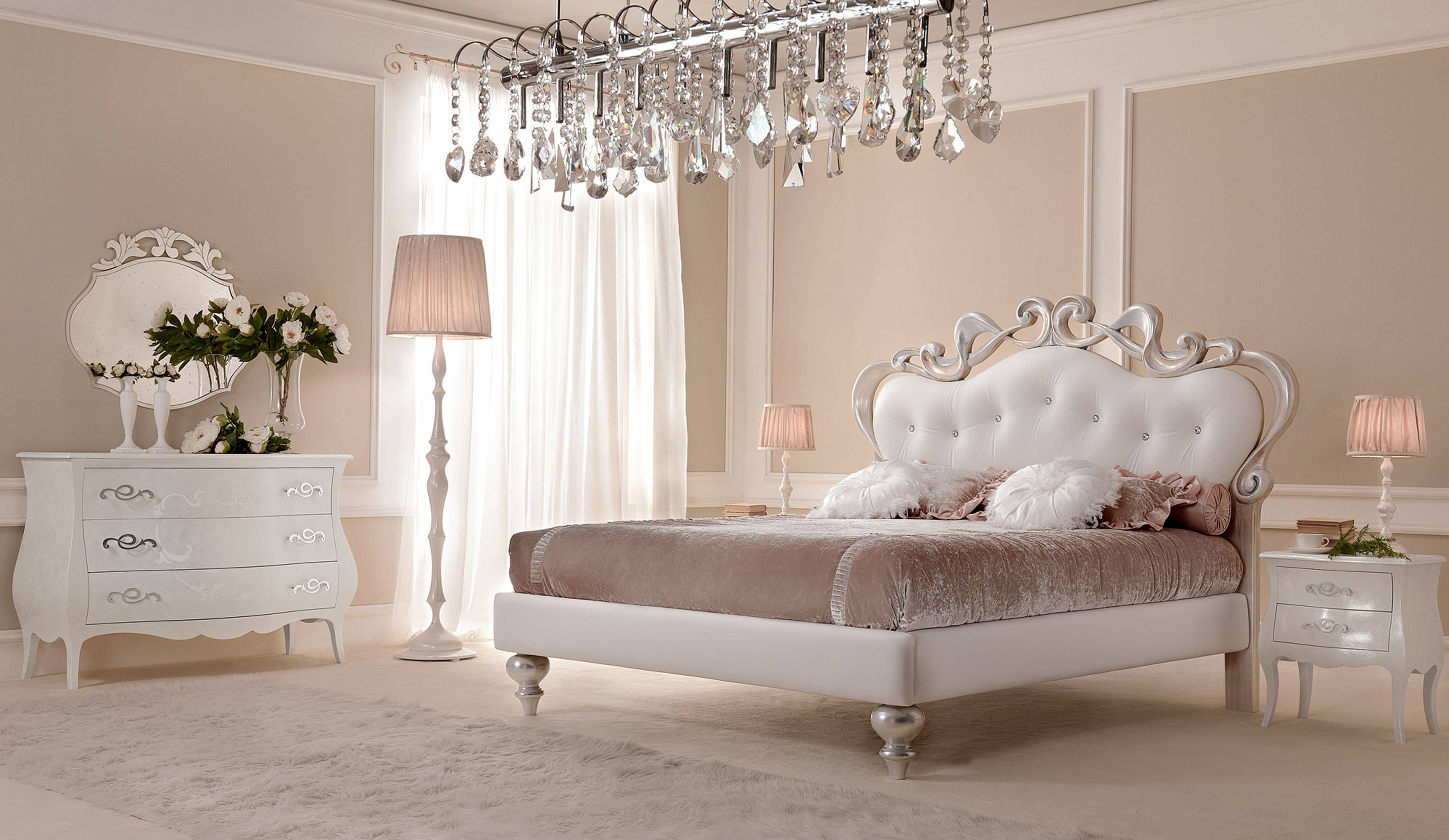 Gotha Mobili ~ Upholstered leather double bed butterfly glamour collection by