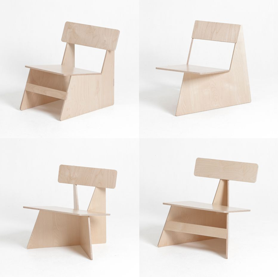 4 chairs from one sheet of wood. Clever.