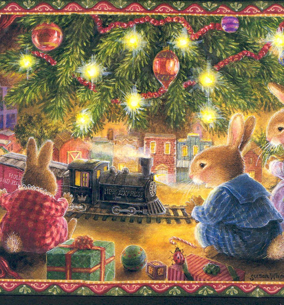 Excited Rabbit Family Runs New Toy Train Under Christmas Treesusan