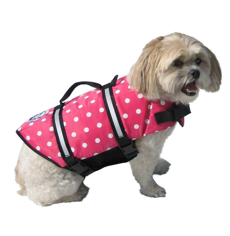 Available at beachdoggies.com! Starting at $24.99. Paws Aboard Pink Polka Dot Doggy Life Jacket – Beach Doggies