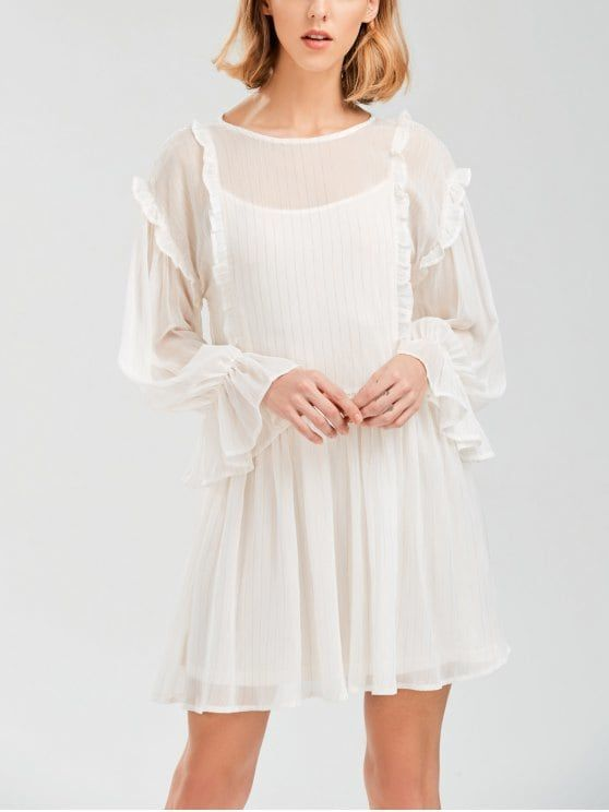 [31% OFF] 2021 Sheer Flare Sleeve Dress With Golden Thread