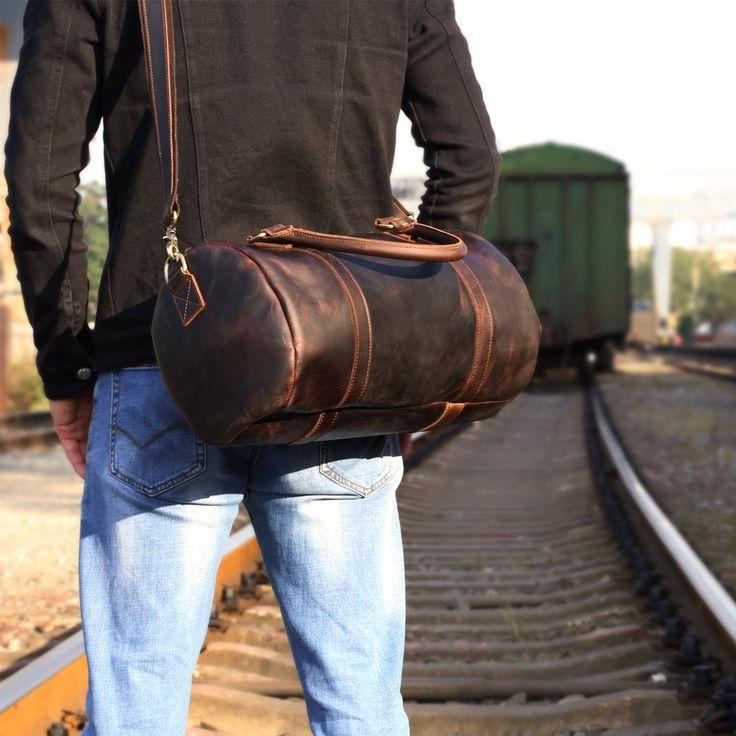 Genuine Leather Mens Bucket Bag Cool Weekender Bag Travel Bag Duffle Bags Overnight Bag Holdall Bag for men  Mens Leather Messenger Bags