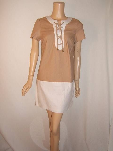 NWT MICHAEL KORS 8 SEXY ROPE LINEN NAUTICAL LUXURY BEIGE Designer Dress NEW #MichaelKors http://stores.ebay.com/Designer-Shoes-and-More?_dmd=2&_nkw=michael+kors