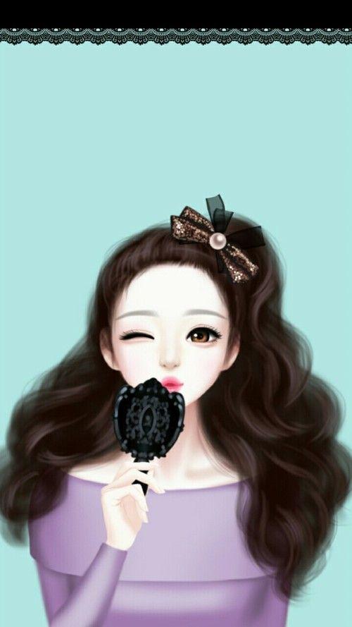 Art Art Girl Beautiful Beautiful Girl Beauty Black Blue Blue Background Cartoon Cute Art Design Drawing Art Girl Cute Kawaii Girl Illustration Girl