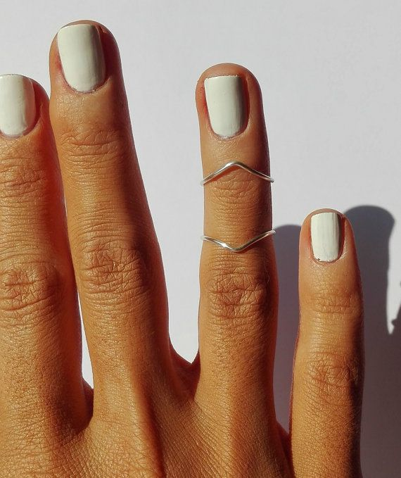 2 SILVER Plated Midi Rings / Above Knuckle Rings by MiraClesStudio