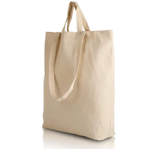 Natural canvas 12oz Shopping bag with long handles and gusset