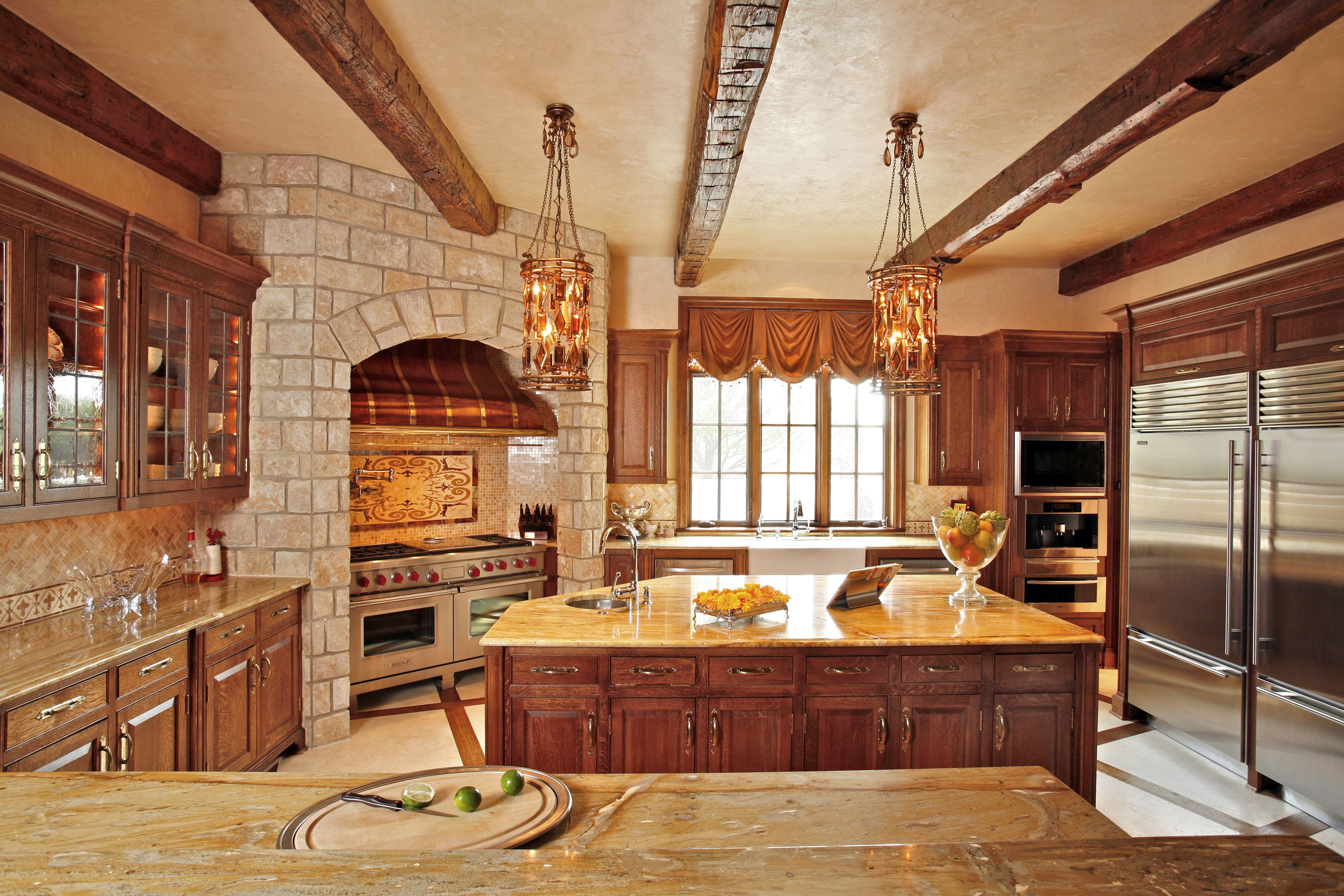 Dream Country Kitchen Love The Brick Around The Stove And The Double Refrigeratorwould