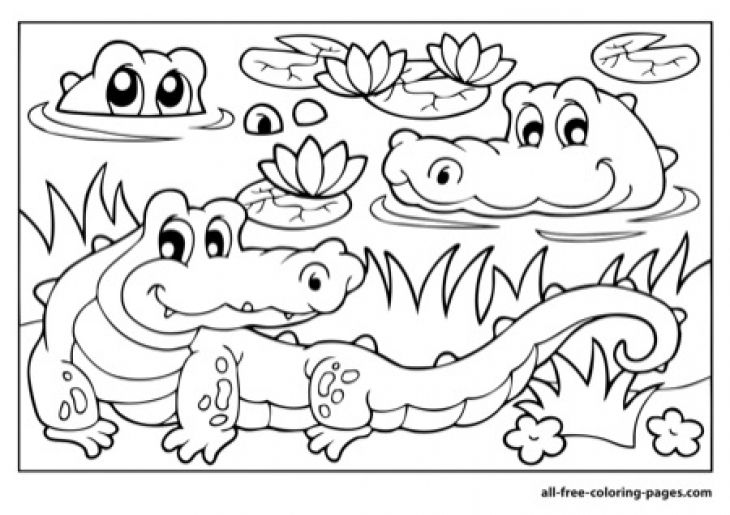 A Family Of Alligator In The River Coloring Page Free Printable Letscolorit Com Reptiles
