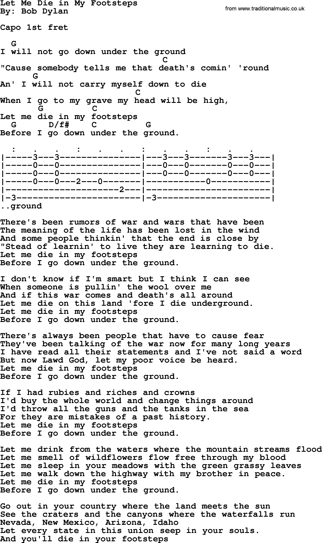 Bob dylan song lyrics with chords let me die in my footsteps bob dylan song lyrics with chords let me die in my footsteps hexwebz Gallery