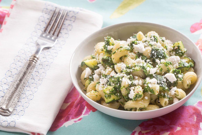 Blue apron yellow squash - Cavatappi Pasta Arugula Pesto With Summer Squash Ricotta Salata