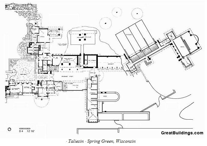 Plan Taliesin Spring Green Wi Frank Lloyd Wright Frank Lloyd Wright Design Taliesin Building Drawing
