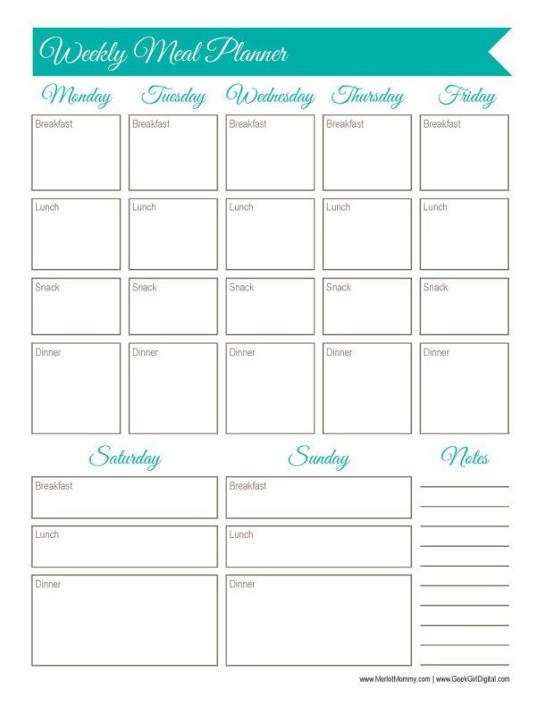 30 Days Of Free Printables: Weekly Meal Planner Worksheet  Menu Planner Template Printable