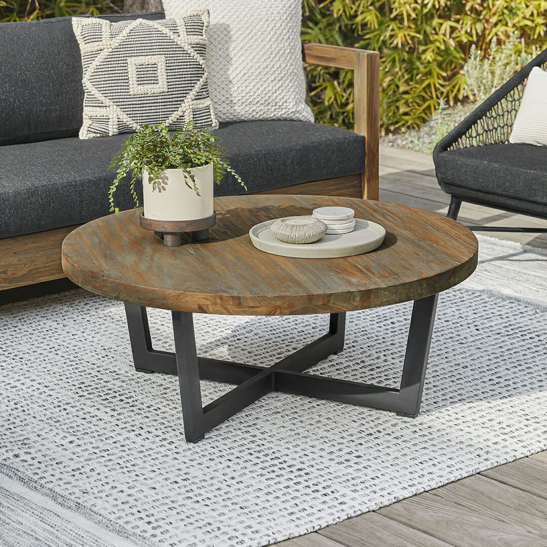 Toba Vintage Brown Coffee Table Coffee Table Round Wood Coffee Table Table Decor Living Room [ 1080 x 1080 Pixel ]