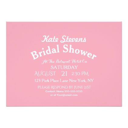 #pink Plain Formal Typography Bridal Shower Card - #saturday #saturdays