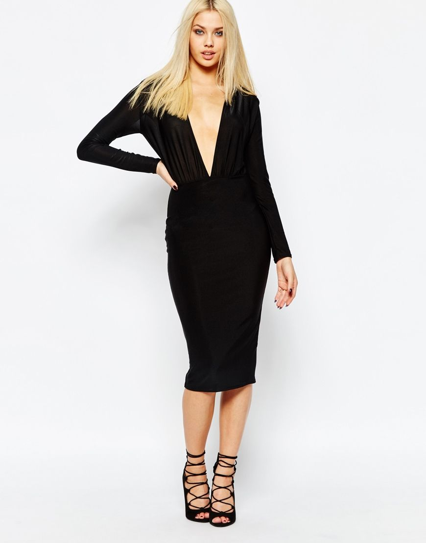 Image 1 of Missguided Deep Plunge Neck Midi Dress | Little Black ...