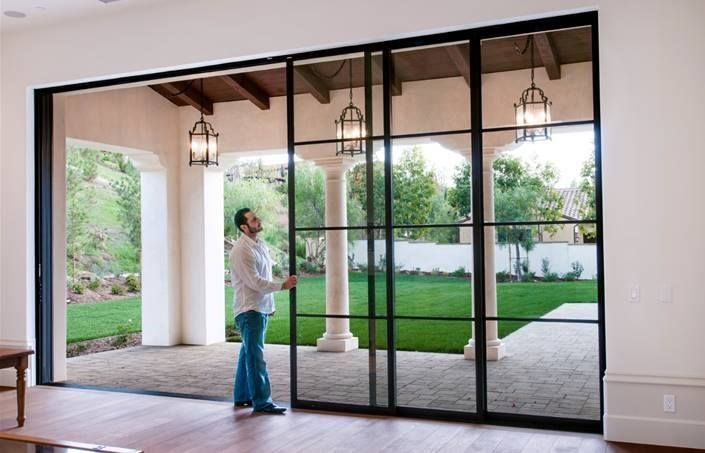 Each Panel Is 6 X 12 That Slides And Disappears Into The Wall Pocket Mediterranean Homes French Doors Patio Sliding Glass Door