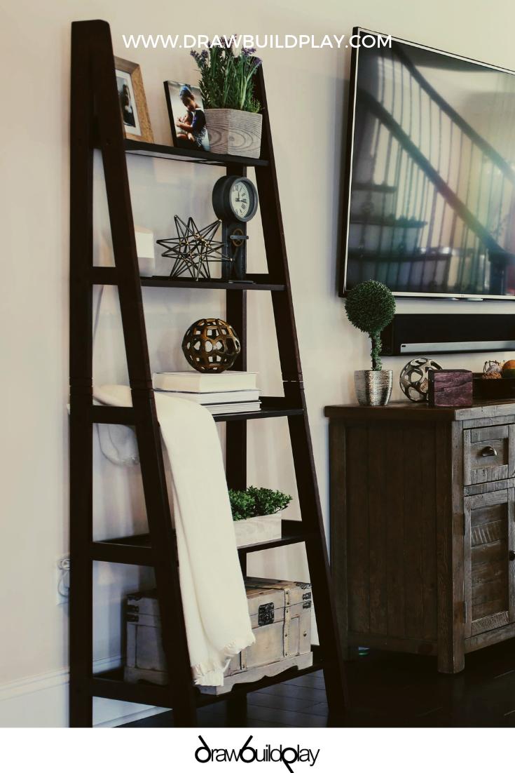 Farmhouse Ladder Shelf Decor | Shelf decor living room ...