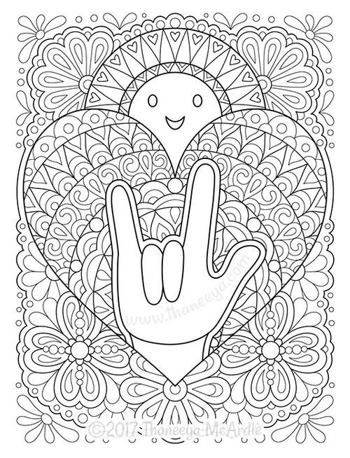 I Love You In American Sign Language Coloring Page Sign Language