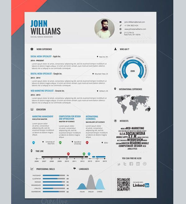 https\/\/creativemarket\/paolozupin CV Pinterest Template - interesting resume templates