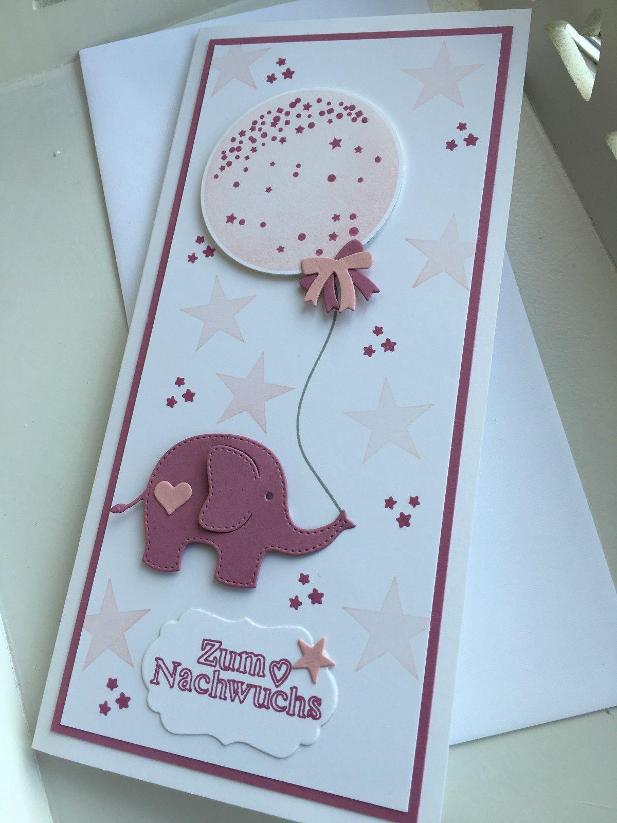 Babykarte Mädchen Unikat 3 D Stampin Up Handarbeit Baby