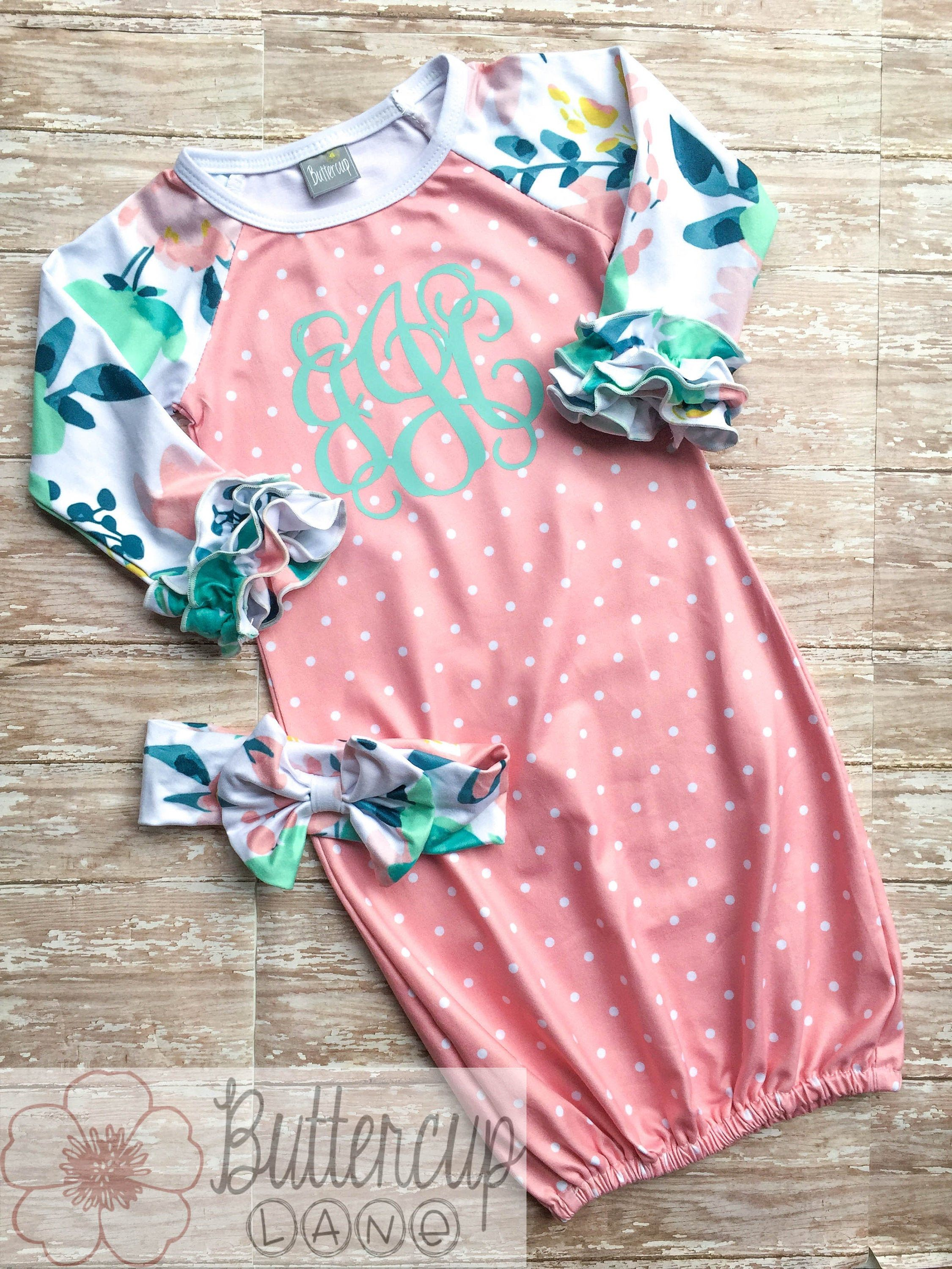 Perfect for a coming home outfit! Girls Ruffle Monogrammed Gown with floral design