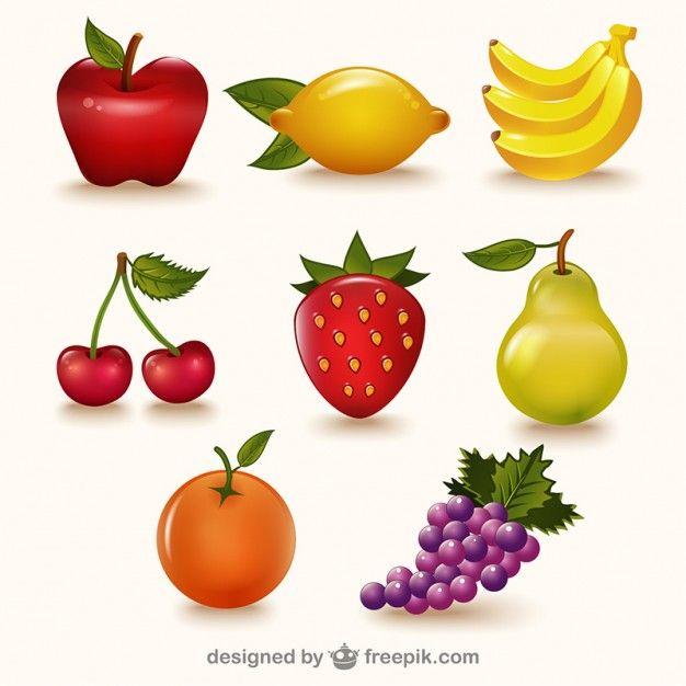 Paquete de frutas de colores Vector Gratis  Veganos  Pinterest