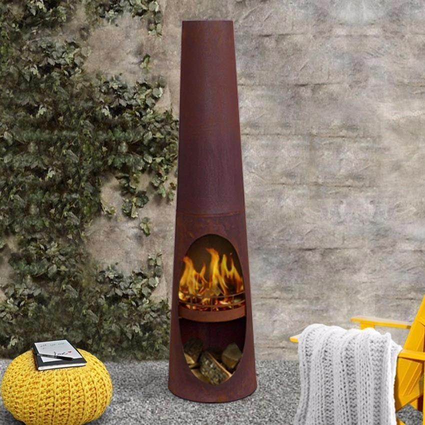 Attractive SALE Santiago Outdoor Rust Fire Pit Backyard Fireplace Garden Patio