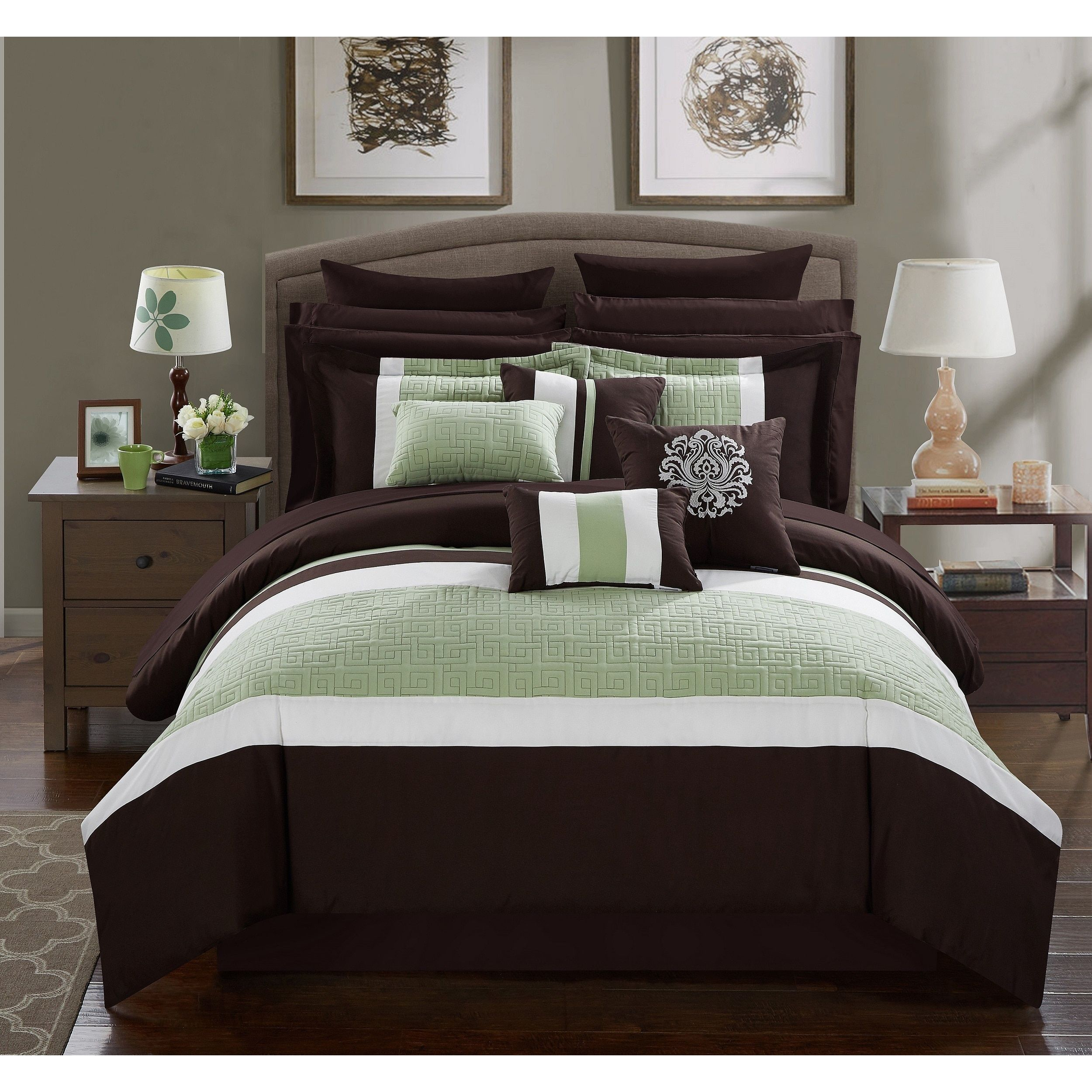 Chic Home 16 Piece King Bed In A Bag Comforter Set Queen Brown